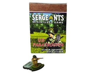 Sergeants Miniatures Game Soldiers Each US Paratrooper Glider Rifle Specialist Leader comes as a private soldier, junior NCO and senior sergeant.